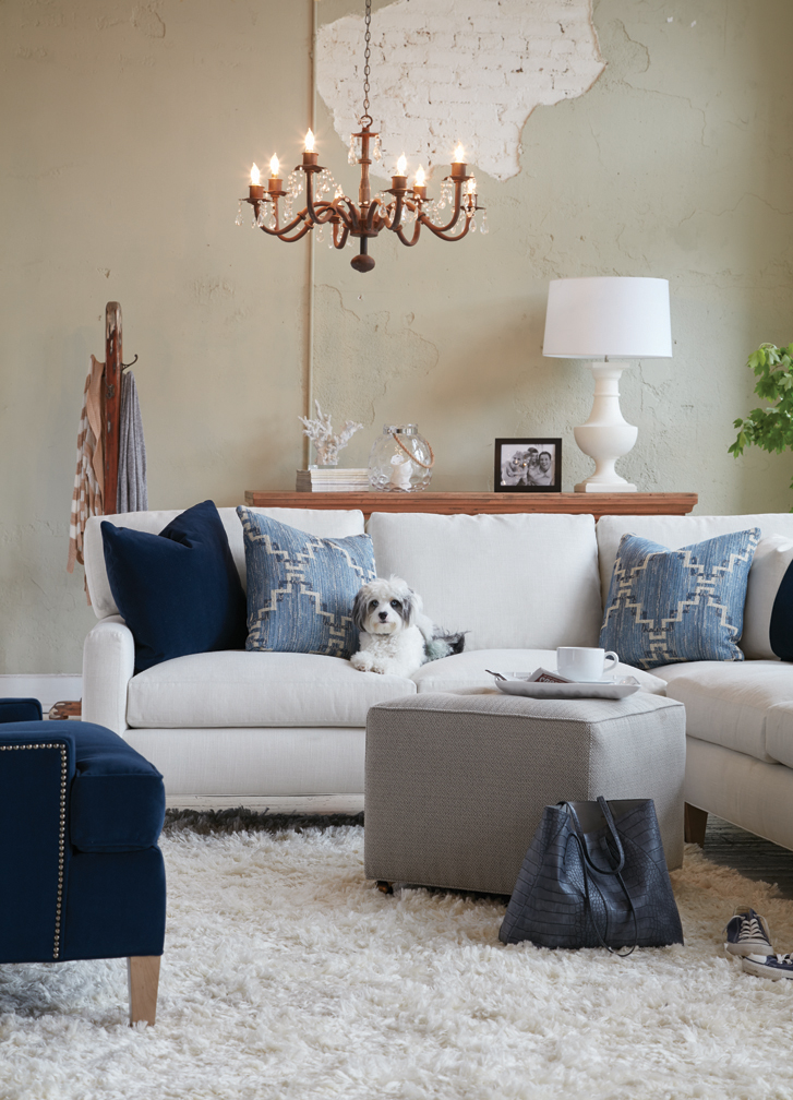 This living room is done in worry free Crypton fabrics. The Fabric and furniture seen here is available at Saratoga Signature Interiors.