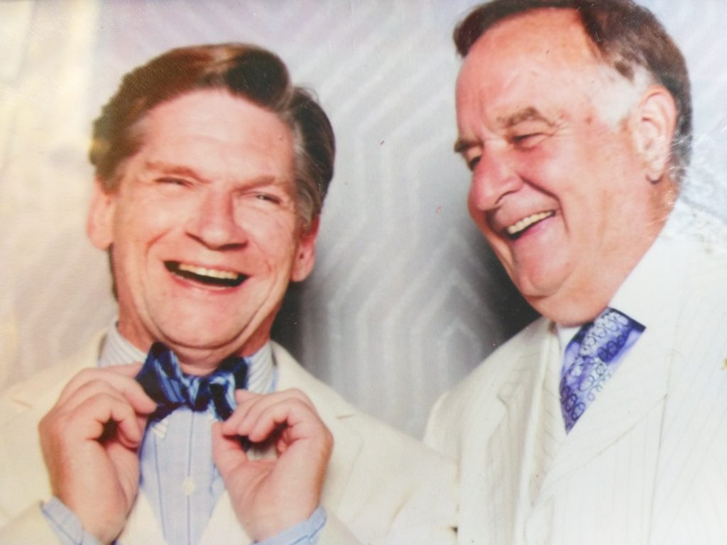 Daniel & Peter Flaherty share a laugh at the annual white party! Peter owns Outdoor Living at Saratoga
